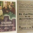 Cine: PROGRAMA DE CINE EL CASTILLO DE LOS MISTERIOS PUBLICIDAD GRAN CINE CENTRAL 1944 ORIGINAL. Lote 160620322