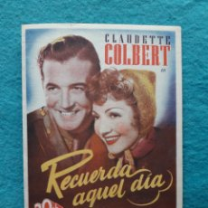 Cine: RECUERDA AQUEL DIA.CLAUDETTE COLBERT, JOHN PAYNE, JOHN SHEPPERD, ANN TODD Y DOUGLAS CROFT. AÑO 1944.. Lote 160661766