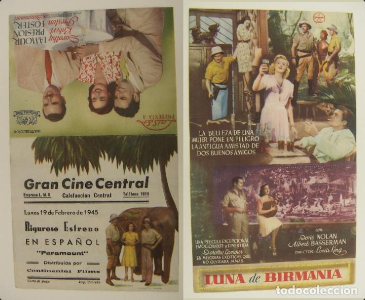 PROGRAMA DE CINE DOBLE LUNA DE BIRMANIA PUBLICIDAD GRAN CINE CENTRAL 1945 ORIGINAL (Cine - Folletos de Mano - Comedia)