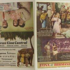 Cine: PROGRAMA DE CINE DOBLE LUNA DE BIRMANIA PUBLICIDAD GRAN CINE CENTRAL 1945 ORIGINAL. Lote 160839542