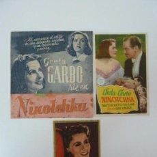 Cine: 3 PROGRAMAS UNO DOBLE SIN PUBLICIDAD. NINOTCHKA. GRETA GARBO. Lote 160876770