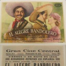 Cine: PROGRAMA DE CINE EL ALEGRE BANDOLERO PUBLICIDAD GRAN CINE CENTRAL 1945 ORIGINAL. Lote 160931454