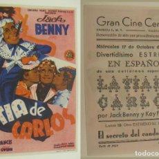 Cine: PROGRAMA DE CINE LA TIA DE CARLOS PUBLICIDAD GRAN CINE CENTRAL 1945 ORIGINAL. Lote 160932302