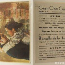 Folhetos de mão de filmes antigos de cinema: PROGRAMA DE CINE EL ORGULLO DE LOS YANQUIS PUBLICIDAD GRAN CINE CENTRAL 1945 ORIGINAL . Lote 160934298