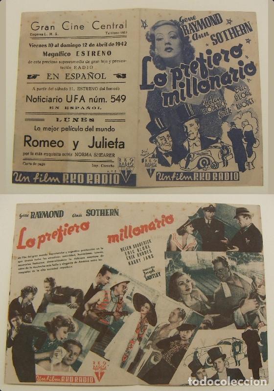 PROGRAMA DE CINE DOBLE LO PREFIERO MILLONARIO PUBLICIDAD GRAN CINE CENTRAL 1942 ORIGINAL (Cine - Folletos de Mano - Comedia)
