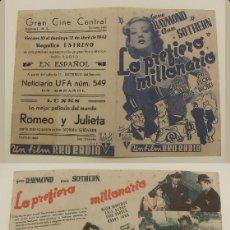 Cine: PROGRAMA DE CINE DOBLE LO PREFIERO MILLONARIO PUBLICIDAD GRAN CINE CENTRAL 1942 ORIGINAL. Lote 160950738