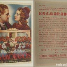 Cine: PROGRAMA DE CINE ENAMORADOS PUBLICIDAD TEATRO PRINCIPAL Y SALON RIALTO 1946 ORIGINAL. Lote 160984470