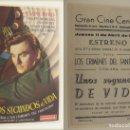 Cine: PROGRAMA DE CINE UNOS SEGUNDOS DE VIDA PUBLICIDAD GRAN CINE CENTRAL 1946 ORIGINAL. Lote 160986698