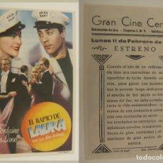 Cine: PROGRAMA DE CINE EL RAPTO DE LAURA PUBLICIDAD GRAN CINE CENTRAL 1946 ORIGINAL. Lote 160996582