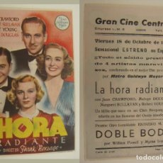 Cine: PROGRAMA DE CINE LA HORA RADIANTE PUBLICIDAD GRAN CINE CENTRAL 1946 ORIGINAL. Lote 161133006