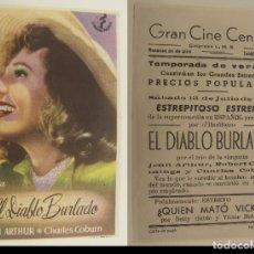 Cine: PROGRAMA DE CINE EL DIABLO BURLADO PUBLICIDAD GRAN CINE CENTRAL 1946 ORIGINAL. Lote 161139602