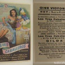 Cine: PROGRAMA DE CINE LOS TRES CABALLEROS PUBLICIDAD CINE VICTORIA ORIGINAL . Lote 161141702