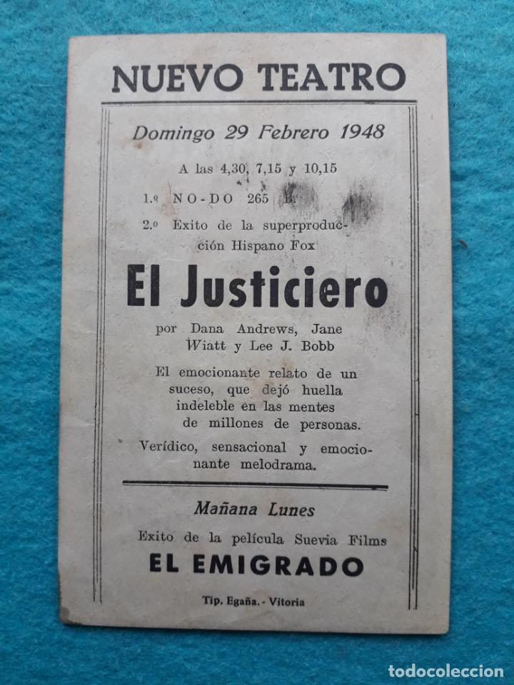 Cine: El Justiciero. Dana Andrews, Jane Wyatt, Lee J. Cobb... Año 1948. - Foto 2 - 161272930