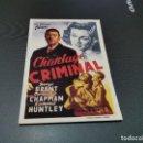 Cine: PROGRAMA DE MANO ORIG - CHANTAJE CRIMINAL - SIN CINE . Lote 161310034