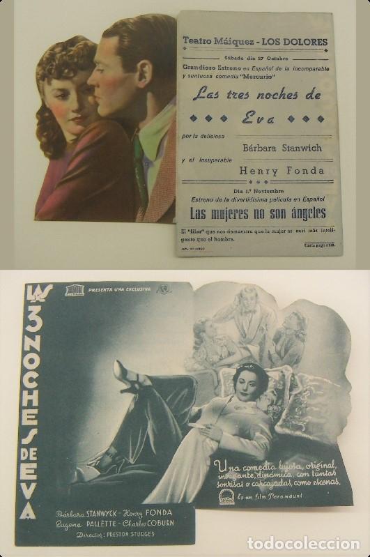 PROGRAMA DE CINE TROQUELADO LAS TRES NOCHES DE EVA PUBLICIDAD TEATRO MAIQUEZ ORIGINAL (Cine - Folletos de Mano - Drama)