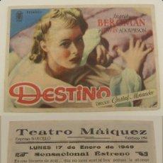 Cine: PROGRAMA DE CINE DESTINO PUBLICIDAD TEATRO MAIQUEZ 1949 ORIGINAL. Lote 161388090