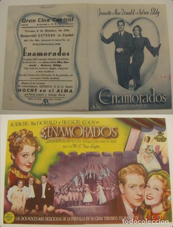 PROGRAMA DE CINE DOBLE ENAMORADOS PUBLICIDAD CINE GRAN CINE CENTRAL 1946 ORIGINAL (Cine - Folletos de Mano - Comedia)
