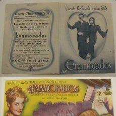 Cine: PROGRAMA DE CINE DOBLE ENAMORADOS PUBLICIDAD CINE GRAN CINE CENTRAL 1946 ORIGINAL. Lote 161389022