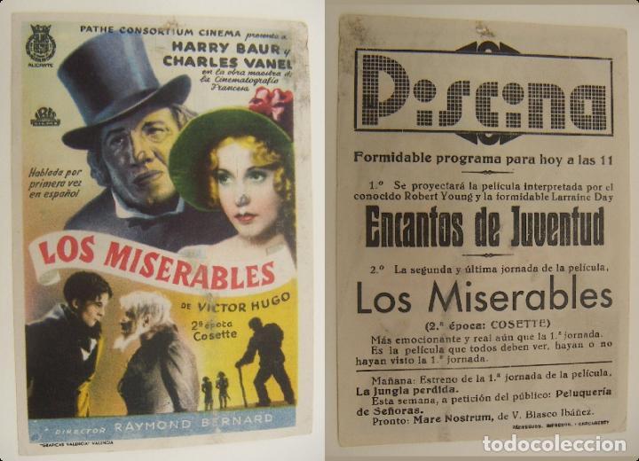 PROGRAMA DE CINE LOS MISERABLES PUBLICIDAD PISCINA ORIGINAL (Cine - Folletos de Mano - Comedia)