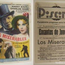 Cine: PROGRAMA DE CINE LOS MISERABLES PUBLICIDAD PISCINA ORIGINAL. Lote 161432442