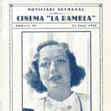 Cine: JOAN CRAWFORD YO VIVO MI VIDA DOBLE NOTICIARI CINEMA LA RAMBLA Nº 39 JUNY 1936. Lote 161439462
