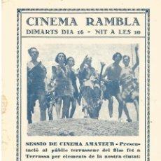 Cine: DOBLE CINEMA RAMBLA 1936 FILM DE L'AULA A LA FAULA CINE AMATEUR FILM FET TARRASSA PUBLIC TERRASSENC. Lote 161459926
