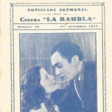 Cine: KATHARIN HEPBURN I CHARLES BOYER CORAZONES ROTOS DOBLE CINEMA LA RAMBLA 1935 CINE TERRASSA . Lote 161460886