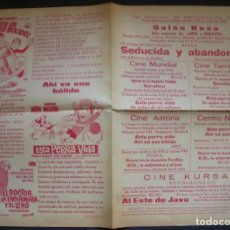 Cine: PROGRAMA DE MANO. AL ESTE DE JAVA, ESTA PERRA VIDA, HORROR EN LA MANSION FORDIKE. IGUALADA, 1970. Lote 161568222