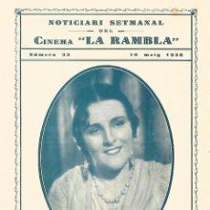 Cine: IMPERIO ARGENTINA EN MORENA CLARA DOBLE DE CINE CINEMA LA RAMBLA 1936 TERRASSE TARRASA. Lote 161589254