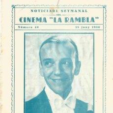 Cine: FRED ASTAIRE Y IRENE DUNNEN ROBERTA TRIPTICO DE CINE CINEMA LA RAMBLA TARRASA 1936 . Lote 161589734