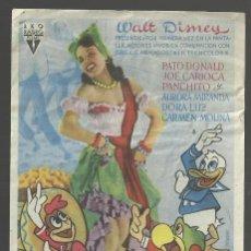 Cine: PROGRAMA DE MANO. LOS TRES CABALLEROS, 1944. PATO DONALD, JOSE CARIOCA, PANCHITO, AURORA MIRANDA. Lote 161713466