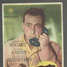 Flyers Publicitaires de films Anciens: PROGRAMA DE MANO. RETORNO AL ABISMO, 1945. HUMPHREY BOGART, ALEXIS SMITH. SIN PUBLICIDAD. Lote 161719702
