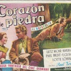 Cine: PROGRAMA DE CINE - CORAZÓN DE PIEDRA - LUTZ MOIK, HANNA RUCKER - CIFESA - 1950 - SIN PUBLICIDAD.. Lote 161749034