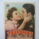 Cine: PROGRAMA. TRES DÍAS DE AMOR Y DE FE. SELLO CINE. Lote 162302058