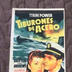 Cine: TIBURONES DE ACERO - FOLLETO DE MANO ORIGINAL SOLIGO - FOX 2ª GUERRA MUNDIAL CON PUBLI. Lote 162364330