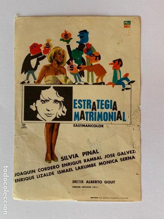FOLLETO DE CINE ESTRATEGIA MATRIMONIAL. SIN PUBLICIDAD. (Cine - Folletos de Mano - Acción)