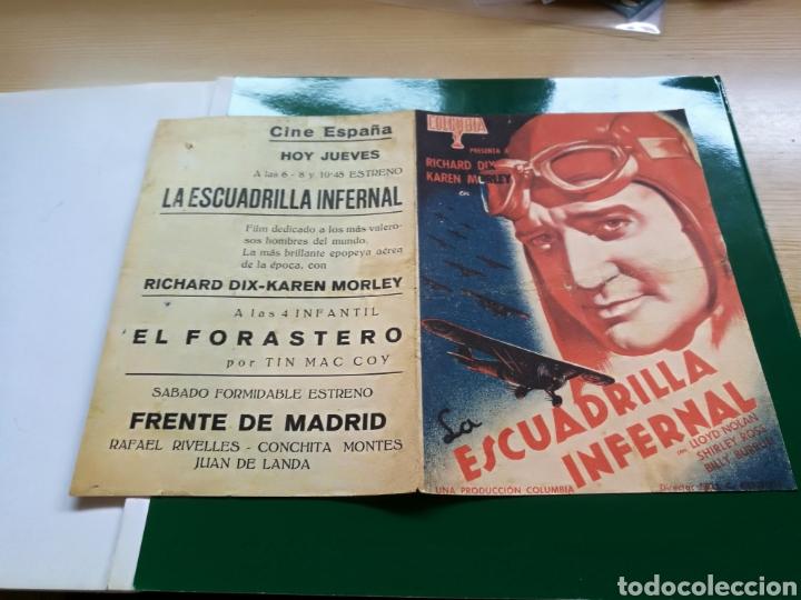 PROGRAMA DE CINE DOBLE. ESCUDRILLA INFERNAL. AÑOS 30. CINE ESPAÑA (Cine - Folletos de Mano - Bélicas)