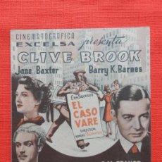 Flyers Publicitaires de films Anciens: EL CASO VARE, DOBLE EXCTE. ESTADO, JANE BAXTER, C/PUBLI SALON NACIONAL. Lote 162608066