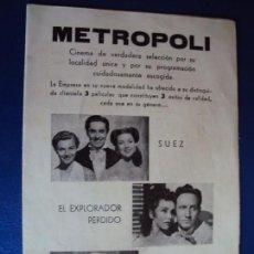 Cine: (PG-190438)PROGRAMA DE CINE METROPOLI. Lote 162707018
