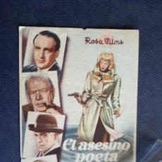 Cine: FOLLETO DE MANO - EL ASESINO POETA - PUBLICIDAD CINEMA SABOYA - CASTELLON AÑO 1949. Lote 162775114