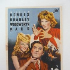 Flyers Publicitaires de films Anciens: PROGRAMA. UNA CHICA CON ANZUELO. WILLIAM BENDIX. S/P. Lote 162947294