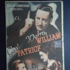 Cine: EL BESO REVELADOR PROGRAMA DOBLE 1940 WARREN WILLIAM GAIL PATRICK CON PUBLICIDAD DEL CINE IDEAL . Lote 163101906