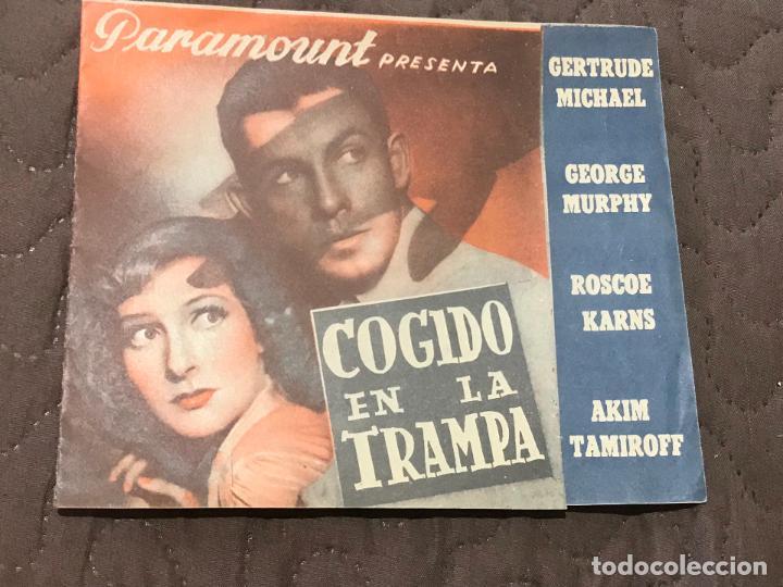 COGIDO EN LA TRAMPA, DOBLE 1940, GERTRUDE MICHAEL GEORGE MURPHY, SIN PUBLICIDAD (Cine - Folletos de Mano - Bélicas)