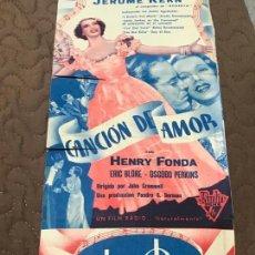Cine: CANCIÓN DE AMOR - HENRY FONDA, ERIC BLORE, OSGOOD PERKINS CON PUBLICIDAD. Lote 163131950