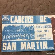 Cine: CADETES DE SAN MARTIN , PROGRAMA DOBLE .SIN PUBLICIDAD. Lote 163134610