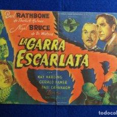 Cine: PROGRAMA DE CINE ORIGINAL. SHERLOCK HOLMES. LA GARRA ESCARLATA. BASIL RATHBONE, NIGEL BRUCE.. Lote 163436130