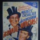 Cine: GRANDES NOTICIAS, 1938 MAURICE CHEVALIER, JACK BUCHANAN PUBLICIDAD CINEMA GOYA PIE LA REINA DE LAS T. Lote 163496878