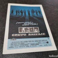 Cine: PROGRAMA DE MANO ORIG - GRUPO SALVAJE - SIN CINE. Lote 163515626