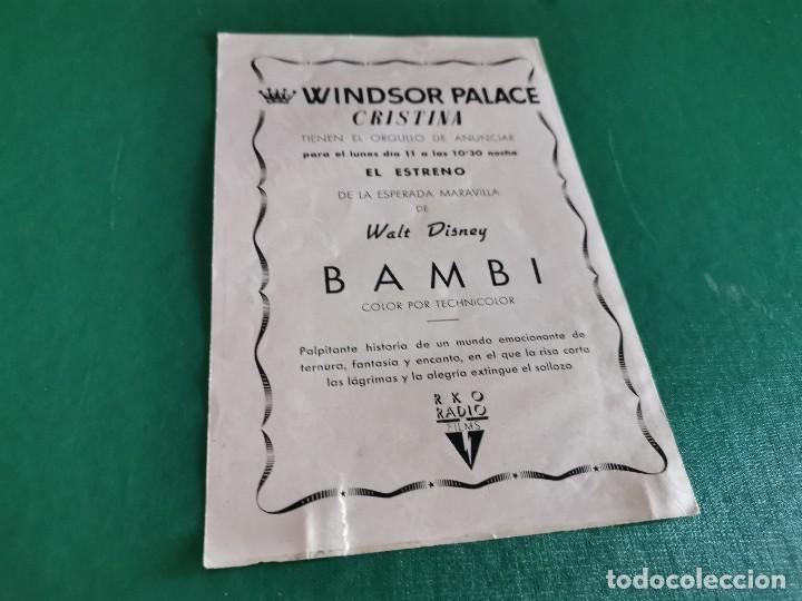 Cine: PROGRAMA DE MANO ORIG - BAMBI - CINE WINDSOR PALACE - Foto 2 - 163564198