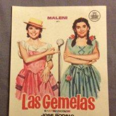 Foglietti di film di film antichi di cinema: FOLLETO DE MANO LAS GEMELAS. SIN PUBLICIDAD . Lote 163583818